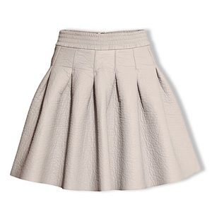 H&M Beige Faux Leather Pleated Bell-Shaped Skirt